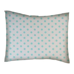 SheetWorld - SheetWorld Crib / Toddler Percale Baby Pillow Case - Aqua Polka Dots - Baby or Toddler pillow case. Made of an all cotton percale fabric. Opening is in the back center and is envelope style for a secure closure.