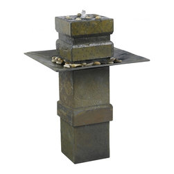 Kenroy Home - Kenroy Home Cubist Floor Fountain Natural Slate Finish - 53210SL - Cubist has a Zen inspired spirit. This stable and tranquil looking fountain is softened with subtle angles and a dark cool slate finish. Water spills over the top pool into the large stone accented angular tray.