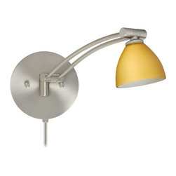 Besa Lighting - Besa Lighting 1WW-1858VM-CP Divi 1 Light Swing Arm Halogen Wall Sconce - Divi has a classical bell shape that complements aesthetic, while also built for optimal illumination. Our Vanilla Matte glass is a light golden cased glass and opal inner layer. The orange glow has a low key harmonious display that exudes a warm mood. When lit the glass is vitalizing as well as stylish. The smooth satin finish on the outer layer is a result of an extensive etching process. This blown glass is handcrafted by a skilled artisan, utilizing century-old techniques passed down from generation to generation. The swing arm fixture includes a 12V electronic transformer and integrated full-range rotary dimmer. The adjustable arm assembly pivots for 130 degree rotation at the canopy, and swings up and down within 180 degree range.Features: