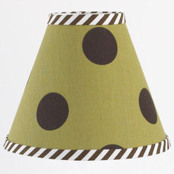 """Cotton Tale Designs - Aye Matie Standard Lamp Shade - A quality baby bedding set is essential in making your nursery warm and inviting. All Cotton Tale patterns are made using the finest quality materials and are uniquely designed to create an elegant and sophisticated nursery. Aye Matie shade is green and brown dot with brown stripe trim measures 8 x 9 x4. Spot clean only. Shade made in the USA. Neutral lampshade.; Weight: 1 lb; Dimensions: 4""""L x 9""""W x 8""""H"""