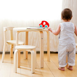 Play with me table + chair set - Sometimes kids just need kid-sized stuff. Kid-sized food, kid-sized clothes, and even kid-sized furniture. Our Play-With-Me Toddler Table & Chairs is the perfect size for your child, and designed to promote child and parent interaction. The set includes a beautiful bentwood table, three chairs for children, and a stool sturdy enough for Mom or Dad to join the fun.