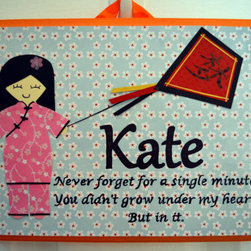 Personalized Adoption Theme Wall Plaque by My Sakura Princess - Whether you've adopted a child from Asia or your own child's heritage stems from Asia, this darling wall plaque lets her know how special she is. Customize the plaque with your child's name, which can be written in English, Chinese, Vietnamese or any other language.