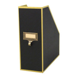 Home Decorators Collection - Cargo Atheneum Magazine File, Black - Brass is even appearing in the simplest of organizing details.