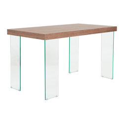 """Euro Style - Euro Style Cabrio Desk 28"""" X 51"""" 09657WAL-A/09657WAL-G - Visually arresting and really unique. The available surfaces are wenge or high gloss white. The legs are all tempered glass, a very clever twist that makes these tables stand out. Face the table from any side, one of the legs will show you a wide stance and the other will be narrow. It sounds like a small detail, but it is an absolutely essential design statement."""