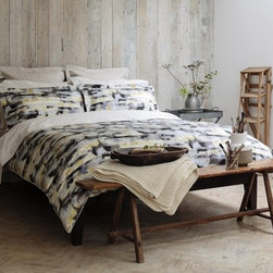 Watercolour Duvet - This amazing print in sophisticated greys with a flash of yellow is a real work of art.  300 thread count, 100% cotton sateen face. 230 thread count, 100% cotton percale reverse. Button Closure.