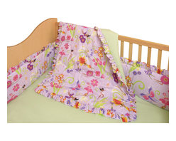 Room Magic - Magic Garden Crib Set - Girls will love this adorable designer fabric full of with flower-fairies and butterflies. The 4 piece crib set includes bumper, solid crib sheet, crib comforter (print on top, solid on bottom) and gathered print crib skirt in the finest 100% cotton.