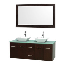 "Wyndham Collection - Centra 60"" Espresso Double Vanity, Green Glass Top, Pyra White Porcelain Sinks - Simplicity and elegance combine in the perfect lines of the Centra vanity by the Wyndham Collection. If cutting-edge contemporary design is your style then the Centra vanity is for you - modern, chic and built to last a lifetime. Available with green glass, pure white man-made stone, ivory marble or white carrera marble counters, with stunning vessel or undermount sink(s) and matching mirror(s). Featuring soft close door hinges, drawer glides, and meticulously finished with brushed chrome hardware. The attention to detail on this beautiful vanity is second to none."