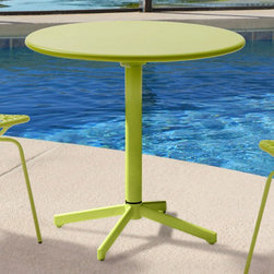 Grandin Road - Big Wave Folding Round Table - Steel frame with an all-weather epoxy finish. Coordinates with Silvermine or Repulse Bay outdoor chairs. Arrives assembled. Easily folds up for storage when not in use. Cleans with a dry cloth. Our durable Big Wave Folding Round Table is equally perfect for a sunrise breakfast or happy hour. Let the smooth lines and hot hues brighten up your outdoor dining space. And when the season, or just the meal, is finished, Big Wave folds up for easy storage.. . . . . Imported.
