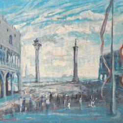 Lloyd Lozes Goff, Piazetta (Venice), Oil and Mixed Media on Panel - Artist:  Lloyd Lozes Goff, American (1918 - 1982)