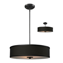 Three Light Factory Bronze Chocolate Shade Drum Shade Pendant - A chocolate colored shade is paired with bronze bands and hardware to create a simple, contemporary look. This pendant includes an acrylic diffuser to soften the light. For a customized look, adjustable rods are included to ensure the perfect look. This pendant also comes able to be installed as a semi flush fixture.