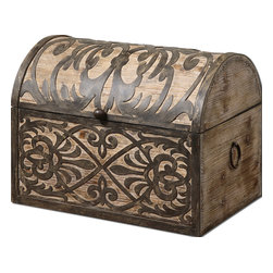 Uttermost - Abelardo Rustic Wooden Box - Keep your treasures safe and sound in this attractive wooden box. The lightly stained fir is beautifully accented with wrought iron.