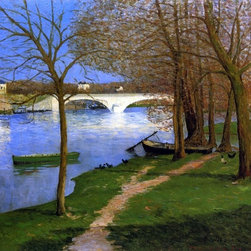 """Maxime Maufra Bridge over the Loire - 16"""" x 16"""" Premium Archival Print - 16"""" x 16"""" Maxime Maufra Bridge over the Loire premium archival print reproduced to meet museum quality standards. Our museum quality archival prints are produced using high-precision print technology for a more accurate reproduction printed on high quality, heavyweight matte presentation paper with fade-resistant, archival inks. Our progressive business model allows us to offer works of art to you at the best wholesale pricing, significantly less than art gallery prices, affordable to all. This line of artwork is produced with extra white border space (if you choose to have it framed, for your framer to work with to frame properly or utilize a larger mat and/or frame).  We present a comprehensive collection of exceptional art reproductions byMaxime Maufra."""