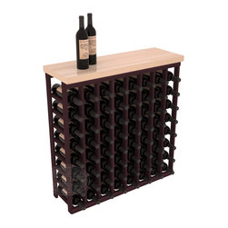 """Tasting Table Wine Rack Kit + Butcher Block Top in Redwood with Burgundy Stain - The quintessential wine cellar bar; this wooden wine rack is a perfect way to create discrete wine storage in shallow areas. Customize with LEDs. Includes a 35"""" culinary grade Butcher's Block top. Marble and granite are also popular methods to create intimate tasting tables. We build this rack to our industry leading standards and your satisfaction is guaranteed."""