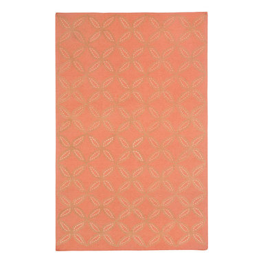 Tanjib rug in Apricot - A rope graphic embroidered design of circles and diamonds echoes pierced screens popular in Indian architecture. This motif is often used as a pattern on intricate Indian chintzes. 95% Wool, 5% Silk - Flat woven in India.