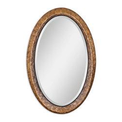 "Carolyn Kinder - Carolyn Kinder Capiz Oval Mirror X-20670 - Heavily Antiqued Dark Capiz Shell With Metal Rope Details. Mirror Has A Generous 1 1/4"" Bevel."