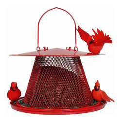 No-No Feeder - Red Cardinal Feeder - The Red Cardinal No/No feeder has 35 inches of open feeding trough protected by an overhanging roof. Fill with black oil sunflower seeds or a mixture of sunflower/safflower.