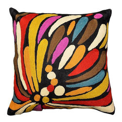 """Modern Wool - Carnival of Colors Floral Cushion Cover Hand Embroidered 18"""" x 18"""" - Carnival of Colors Floral Cushion Cover - Gorgeously hued in prismatic colors, this cushion cover is a fanciful representation of a peony or a mum. Vaguely hinting at the 'seed of life' shapes which became the paisley, this charming cover will make a big splash wherever you choose to use it. Whether used in garden, patio, or in a room, on a sofa, chair or chaise, this all natural fiber, wool chain stitch on cotton base is soft, practical and durable. The button fastening on the reverse is an extra touch of class. Cover existing throw pillows to create a whole new look, or use it as an accent piece covering a fresh pillow form."""
