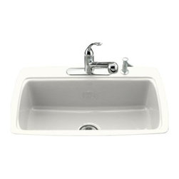 KOHLER - KOHLER K-5864-2-0 Cape Dory Tile-In Kitchen Sink with Two-Hole Faucet Drilling - KOHLER K-5864-2-0 Cape Dory Tile-In Kitchen Sink with Two-Hole Faucet Drilling in White