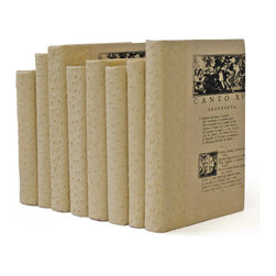 Go Home - Linear Foot of Ostrich Faux White Books - Faux Ostrich Books have neutral off-white color with high design look and the faux ostrich fabric is used to cover the recycled books.These books offer all the designer touches you need to fill your bookcase.Sold in a linear foot, each set will vary in the amount.