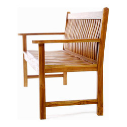 All Things Cedar - TEAK Wave Bench - Solid mortise and Tenon joinery coupled with highly skilled wood-steaming creates a natural fit and feel like none other. Made with solid Java Teak and finished with a light teak oil for a beautiful lasting finish. : DIMENSIONS : 64w x 26d x 36h --- SEAT : 58w x 20d x 18h (knockdown)