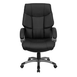 Flash Furniture - High Back Black Leather Executive Office Chair - This extra plush leather chair is very appealing and is sure to bring out the modern flair in your office space. With its eye-catching titanium nylon base and padded loop arms it is sure to please. Chair features generously padding on the seat and plush winged padding on back to provide all day comfort. The titanium nylon base with black caps prevents feet from slipping. For your next office chair, look no further than this extremely comfortable and stylish leather office chair!