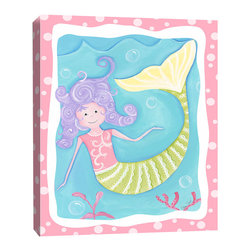 Doodlefish - Mandi the Mermaid - Stretched Canvas Giclee of a lavender haired mermaid swimming in the aqua blue sea.  The vibrant colors make this a perfect piece of artwork for a nursery or big girl's room.  The companion piece has a swimming mermaid and is called Milly the Mermaid.  Both pieces are gallery wrapped canvas with a pink polka dot border.