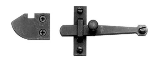 Closet or Cabinet Door Lift Bar Latch - For use on a flush door, the Lift Bar Latch Set is perfect for securing lightweight doors of all kinds including closet doors, cabinets, and gates. It has a knob for easy gripping and lifts in and out of the bar guide for a secure fit. It has a matte black finish and that, along with the old world styling, makes this latch great for traditional and rustic decors.
