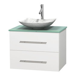 """Wyndham Collection - Centra 30"""" White Single Vanity, Green Glass Top,Arista White Carrera Marble Sink - Simplicity and elegance combine in the perfect lines of the Centra vanity by the Wyndham Collection. If cutting-edge contemporary design is your style then the Centra vanity is for you - modern, chic and built to last a lifetime. Available with green glass, pure white man-made stone, ivory marble or white carrera marble counters, with stunning vessel or undermount sink(s) and matching mirror(s). Featuring soft close door hinges, drawer glides, and meticulously finished with brushed chrome hardware. The attention to detail on this beautiful vanity is second to none."""