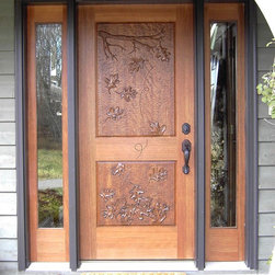 Mahogany Entrance with Hand Carved Door - Mahogany Entrance with hand carved door and two full view sidelights.  Hand carved 'Falling Leaves' design in door and clear glass in sidelights.