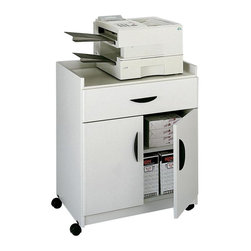 """Safco - Deluxe Mobile Stand in Gray Finish - Deluxe versatility and mobility. Designed to handle office machines. Can be serve as a beverage cart. Top has 2 in. high lip to secure machines or prevent spills. Generous storage compartment. Double doors. Perfect for storing smaller supplies. Rolls smoothly. Four swivel casters with two locking. 1.25 in. increments with adjustable shelf. 0.75 in. thick material. 200 lbs. weight capacity. Made from furniture grade particleboard. Storage Compartment: 28.50 in. W x 18.75 in. D. Drawer: 27.50 in. W x 17.75 in. D x 5 in. H. Overall: 30 in. W x 20.50 in. D x 36.25 in. H (118 lbs.). Assembly InstructionMake your multimedia mobile! If your office is on the move make sure your AV and multimedia can move with you! The Mobile Machine Stand is ideal for office equipment, TV/VCR set-ups, and more! Easily transport your AV from your media center to your conference room, or from your conference room to training center. Even use in your reception or waiting area to entertain your guests while they wait! Additionally use it in your office, lounge area, classroom, library, children's play area, mail room or print area. Constructed of tough 3/4"""" furniture-grade wood with stain and scratch-resistant laminate finish."""