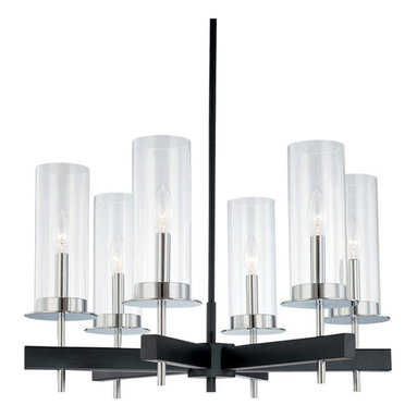 Tuxedo Chandelier by Sonneman A Way Of Light - Tuxedo 6 light chandelier features clear glass cylinders and a chrome/black finish. Available in a chandelier, linear suspension and 1 or 2 light wall sconce version. Includes (3) 12 and (1) 6 inch stem kits. Six 60 watt, 120 volt, B10 candelabra base incandescent lamps not included. General light distribution. UL listed.