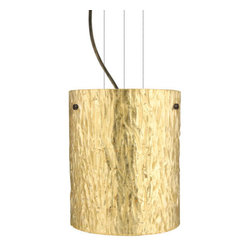 Besa Lighting - Besa Lighting 1KG-4006GS-LED Tamburo 1 Light LED Cable-Hung Pendant - Tamburo is a classic open-ended cylinder of handcrafted glass, a shape that will stand the test of time. Our Stone Gold Foil glass is a clear blown glass with an outer texture of coarse sandstone, with distressed metal foil hand applied to the inside. Inspired by the elements of nature, the appearance of the surface resembles the beautiful cut patterning of a rock formation. This blown glass is handcrafted by a skilled artisan, utilizing century-old techniques passed down from generation to generation. Each piece of this decor has its own artistic nature that can be individually appreciated. The cable pendant fixture is equipped with three (3) 10' silver aircraft cables and 10' AWM cordset, and a low profile flat monopoint canopy.Features: