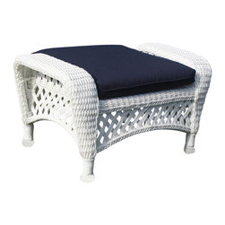 Wicker Paradise - White Outdoor Wicker Ottoman: Montauk Collection - A White Outdoor Wicker Ottoman completes your outdoor wicker set. It is perfect next to your chair. Plus, it's always ready for tired feet so you can lounge back, read, take a nap, or have a nice beverage with company. The cute Montauk footrest serves as an extra piece of seating, so extra company or the family pet has a place to sit. You will be more than satisfied with its charming wicker, the workmanship of the strong, thick lattice wicker sides, and the braiding that lines this outdoor wicker ottoman.   Legs have a plastic cap on the bottom of each leg to shield your floor from scratching. The resin wicker  at the bottom of each leg is also hand-wrapped over a strong aluminum frame for extra durability. This white outdoor wicker ottoman wears well under covered spaces or in total outdoor conditions. You'll have no worries about the weather with the Montauk Collection and no paint chips. You purchase strong UV-resistant wicker.  If you keep your furniture in total outdoors, you can cover the furniture with our outdoor furniture covers for extra protection. Your furniture will thank you for taking good care of it and it will show. You will get many more years of enjoyment from your furniture that will still look as it did the day you first unboxed it.     White Outdoor Wicker Ottoman: Montauk Style   White outdoor wicker ottoman all in one piece!  Montauk white outdoor wicker also comes in Natural or Black wicker  Treat your feet to a rest while lounging on the Montauk white outdoor wicker chair  Check out other Montauk Collection pieces  Variety of solid, stripe, floral fabrics available