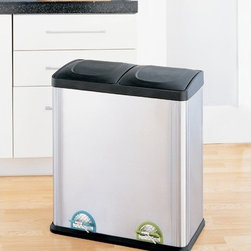 OIA - 15.8 Gallon Two Compartment Step-On Bin - Looking for an easy way to organize all your recyclables? The Large Two Compartment Step-On Recycling Bin from Organize It All is the perfect solution. Separate recyclables no problem with the two divided sections and color coded pedals. Each section has its own removable plastic liner with handle making removal and cleanup easy. This unit has a 60 liter capacity. Features: -Two compartment step-on Recycling bin. -Recycling Bins collection. -Combination of stainless steel and black finish. -Stainless steel, plastic and metal construction. -Easy to use color-coded foot pedals. -Capacity: 15.85 Gal / 60l. -Conveniently separate and organize recyclables. -Removable plastic liners with handles in each section making removal and cleanup easy. -Handle on back for easy pick-up. -Manufacturer provides a 30 day warranty.