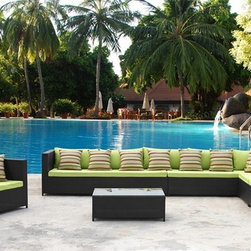 Fine Mod Imports - Garden Outdoor Sectional Set with Green Cushions - Features: