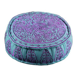 Artemano - Round Cotton Pouf With Hand Embroidered Designs, Violet / Blue - Available in five colors, the elaborately hand-embroidered Round Cotton Pouf is perfect for any room of the home. The bohemian style accent piece is multifunctional and suited to any interior design style. For anyone who wants to add a touch of warmth and color to their décor.