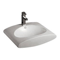 Whitehaus Collection - Whitehaus WHKN1098 Ceramic Rectangular Above Mount Bathroom Sink Basin - Whitehaus Collection bathroom sinks are modern sleek and stylish. A great option for anyone that wants a unique and eye catching bathroom design!