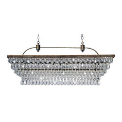 "Lightupmyhome - 40-Inch Rectangular Glass Drop Chandelier - This beautifully unique rectangular chandelier captures your attention and lights up your home! This gorgeous chandelier is accompanied by 10 feet of matching double chain and finished off in glistening crystals that sparkle from every angle. Includes 10 Feet of matching chain Included ceiling canopy Setting: Indoor Fixture finish: Antique Copper Number of lights:  Requires (6) six 60 watt E12 chandelier bulbs, Not Included Dimensions: 40 inches wide x 18 inches high x 10"" D Heavy assembly is required. Individual droplets must be attached by hand. 414 Crystals in Total. Ceiling canopy is 18"" x 3.6""Deep x 1"" High"