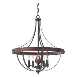 Murray Feiss - 5 Bulb AF/CHARCOAL BRICK/ACORN Chandelier - - UL Dry Approved.