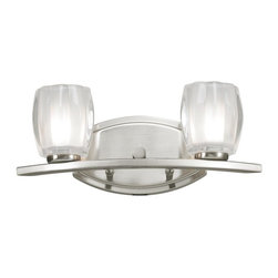 Two Light Brushed Nickel Matte Opal Glass Vanity - This double vanity light, finished in brushed nickel and matte opal glass, brings a contemporary look.