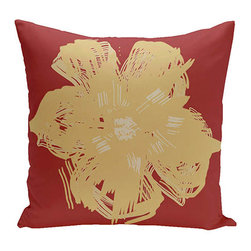 e by design - Floral Red 18-Inch Cotton Decorative Pillow - - Decorate and personalize your home with coastal cotton pillows that embody color and style from e by design  - Fill Material: Synthetic down  - Closure: Concealed Zipper  - Care Instructions: Spot clean recommended  - Made in USA e by design - CPO-NR8-Buddha_Emperor-18