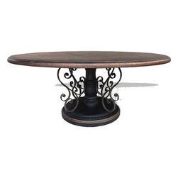 Compass Round Dining Table, Black Baroque with Gold Scrolls - Compass Round Dining Table, Black Baroque with Gold Scrolls