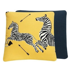 Chloe and Olive - Scalamandre Yellow Zebra Print Decorative Pillow - This iconic, prancing print by Scalamandre will bring vivacity and glamour to a couch, bed or chair. With a stunning pair of zebras on each throw pillow, the exquisite combination of yellow, black and white will be a favorite for many seasons to enjoy. Scalamandre is a well known manufacturer of the finest quality fabrics for over 80 years.