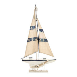 Benzara - Seaside Nautical Sailboat decor With Fishing Net - Let your home dive into the deep blue with a refreshing piece of decor like this sporty sailboat. For all those who love the sea, this decor features a mighty sailboat shifting in the wind and waves. And with extra pieces of ocean themed ornaments, like ship's anchors and a knotted fishing net, this is perfect for the mantel or bathroom.