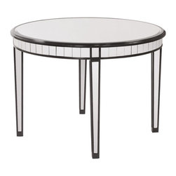 www.essentialsinside.com: beveled mirrored dining table, black lacquer trim - Beveled Mirrored Dining Table, Black Lacquer Trim by Uttermost, available at www.essentialsinside.com