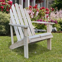 Shine Company Catalina Cedar Adirondack Chair - The Shine Company Catalina Cedar Adirondack Chair is crafted from high-quality yellow cedar that's naturally resistant to moisture decay and insect damage. The grain and knotty grade of the wood is unfinished so that you can stay with the natural rustic charm of the chair or apply your own choice of paint or stain. The chair can be assembled as quickly as 25 minutes and features wide arms a curved seat and a high back for optimal comfort and support. About Shine Co.Shine Co. has been producing quality wood furniture home accents and decorative pieces for over 30 years. It has an honest straightforward mission to supply its customers with charming functional pieces made of natural materials. Each piece is assembled by an experienced craftsman with great care and attention to detail.