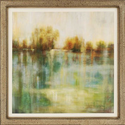 "Paragon Decor - Summerfield II Artwork - Brighten up those boring walls with this colorful piece, ""Summerfield II"" which depicts a beautiful image of golden and amber trees along the banks of a glassy lake in the late hazy afternoon. This piece resembles the views one might see while lackadaisically floating in a canoe. It is surrounded by an off-white matte and antiqued frame. This piece measures 41 inches wide, 2 inches deep, and 41 inches high."