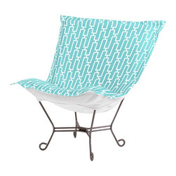 Howard Elliott - Bahama Breeze Scroll Puff Chair - Titanium Frame - Taking it to the Backyard! Now you can take your favorite chair outside with you. The Bahamas Patio Puff Chair has been designed to withstand the elements with Its special fabric cover and foam insert. The fun, bright color selection of the Bahamas Patio Puff Chair will fill your yard with the colors of summer.
