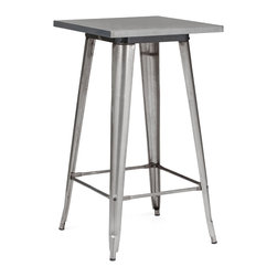 "Design Lab MN - Tolix Style Clear Gunmetal Steel Bar Table 42"" - As seen in many bistros across France, the Tolix style bar table is a classic piece used for generations. Come in clear gunmetal, white, rustic matte with wood top and white with wood top."