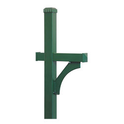 Salsbury Industries - Salsbury In-ground Deluxe Green Mailbox Post - This deluxe mailbox post features a green finish that is power coated for durability and is able to be mounted in-ground. It can accommodate rural mailboxes attractively.